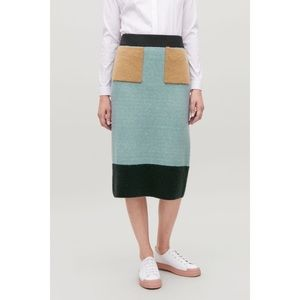 COS Color-Block Wool Knit Skirt, Mohair Pockets XS